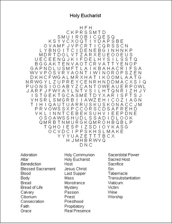 Words, Eucharist and Crossword on Pinterest