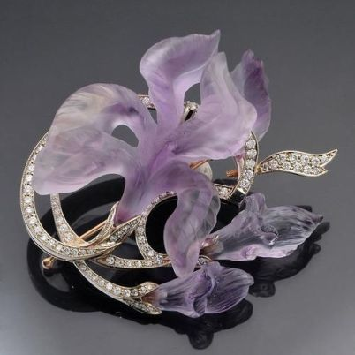 Lalique-Exquisite Hand Carved Amethyst Iris With Diamond Leaves: