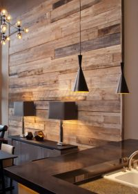 Contemporary, sleek dining room with rustic wood plank ...