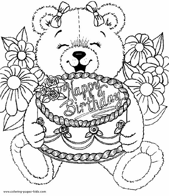 Teddy Bear Birthday Cake Coloring Pages