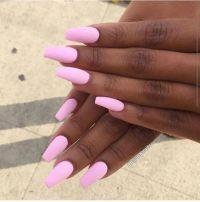Beautiful pink nails on brown skin black woman. #nails # ...