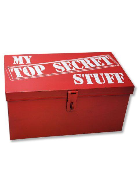 Fun Red Metal My Top Secret Stuff Box With Lockable Lid