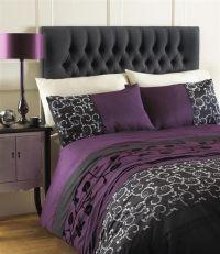 AUBERGINE PLUM / BLACK GREY DOUBLE DUVET QUILT COVER BED ...