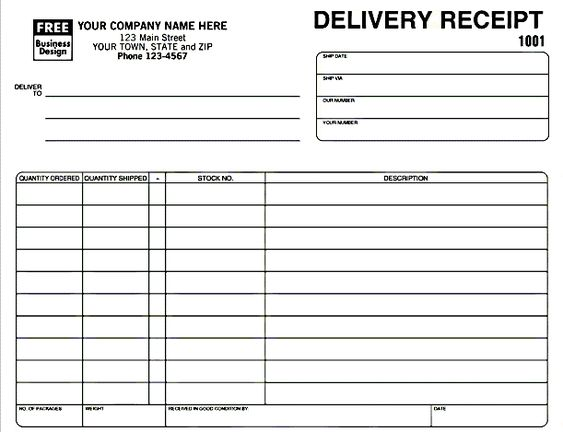 Delivery Receipt Template in Excel Format Excel Project