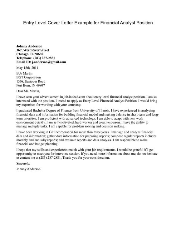 Financial Analyst Cover Letter Example  httpwww