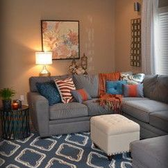 Decorate Living Room With Black Couch White Brown Furniture Curtains, Peach Walls, Red Pillow Blue ...