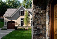 Rock And Stucco, garage door, white trim around window ...