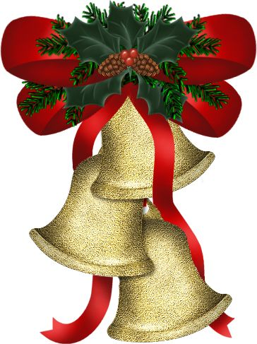 christmas gold bells with holly