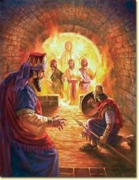 The 3 Hebrews in the fiery furnace-with an angel. Daniel 3 ...