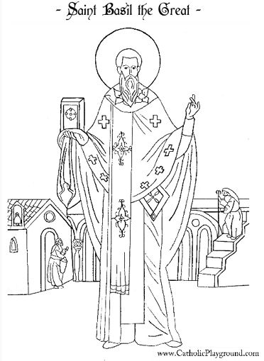 Saint Basil the Great coloring page for Catholic Children