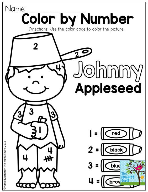 Johnny appleseed, Color by numbers and Numbers on Pinterest