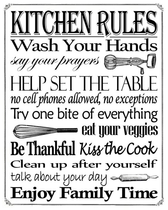 Kitchen rules Free printable and Signs on Pinterest