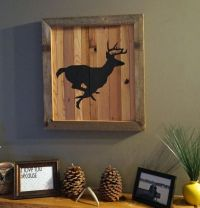 Rustic wall art of a deer running. Would look good in a ...