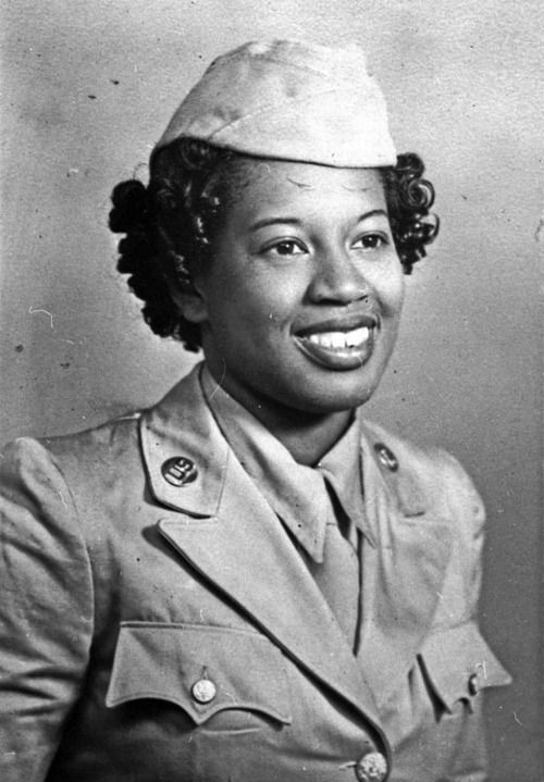 WAC Audrey Meyers circa 1944. She served as a medical technician at Halloran General Hospital in New York City from 1944-1945.: