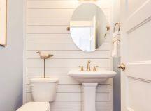 coastal powder bathroom with shiplap wall | Bathroom Love ...