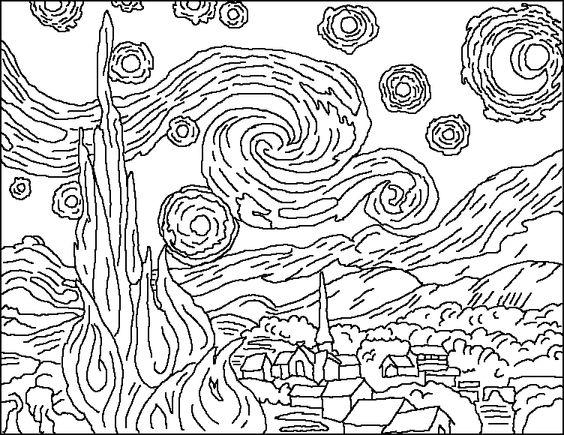 Night, Starry nights and Coloring pages on Pinterest
