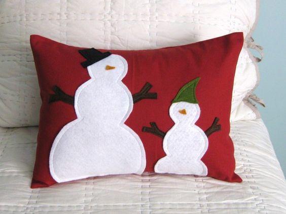 Snowman pillow  Christmas Decor  Pinterest  Snowman and