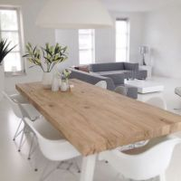 Scandinavian Design | Natural Wood Table, White Chairs ...