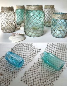 Decorate some useful jars with netting.: