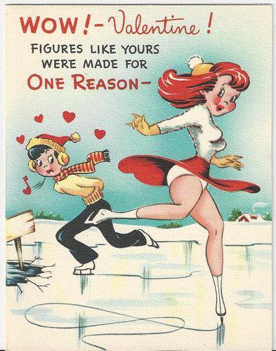 Flirty Vintage Valentine With Figure Skater The Inside