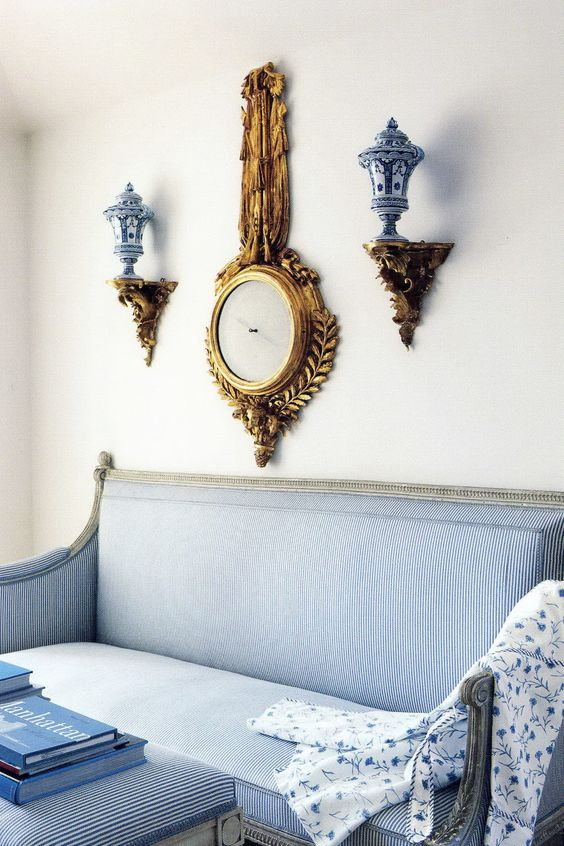 I have always been captivated by all things blue and white. The combination  is such a timeless,classic look. I enjoy using dead gray and white gesso furniture with very committed patterns of blue and white. Here are several amazing examples of blue and white with cream and gilt. I especially love the French gray color on the trumeau and  bed. In Carolyne Roehm's book, A Passion for Interiors. I find a great deal of inspiration from her rooms for my painted furniture designs. I hope you will be: