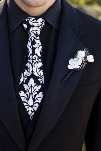 black & white tie (white shirt & white vest, black pants ...