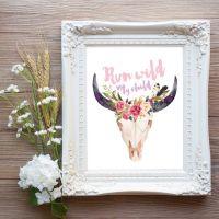 Run Wild My Child Printable Wall Art, Boho Chic Nursery ...