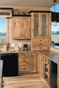 hickory cabinets rustic kitchen design ideas wood flooring ...
