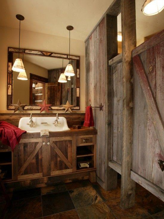 rustic ski lodge bunk house bathroom showers  Home
