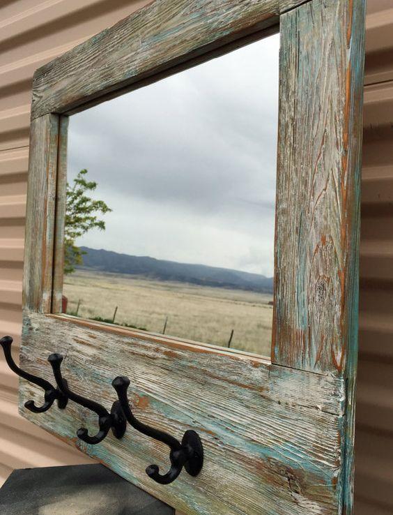 Barn wood Mirror, Barnwood Coat Rack, Nautical Wall Mirror