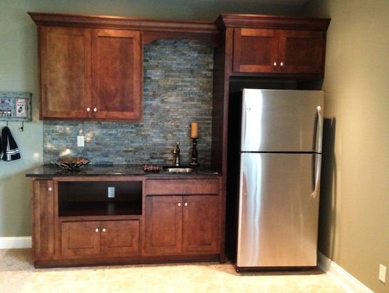 {Basement Kitchenette With Gorgeous Stacked Stone}