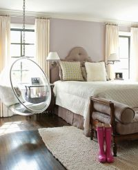 Feminine bedroom with clear hanging egg chair (PaperCity ...