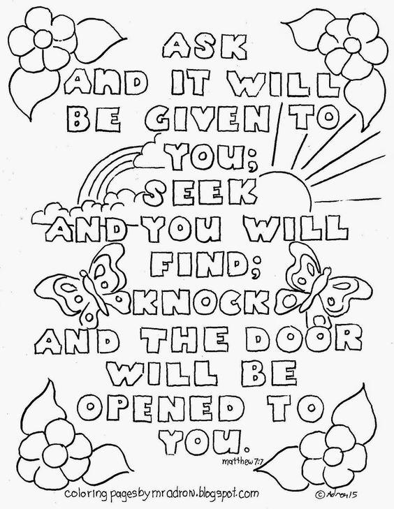 Bible Verse Matthew 7:7 Coloring page. See more at my blog