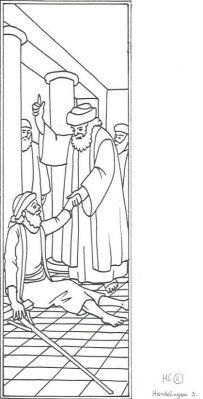 Petrus en Johannes genezen een verlamde Een verlamde man