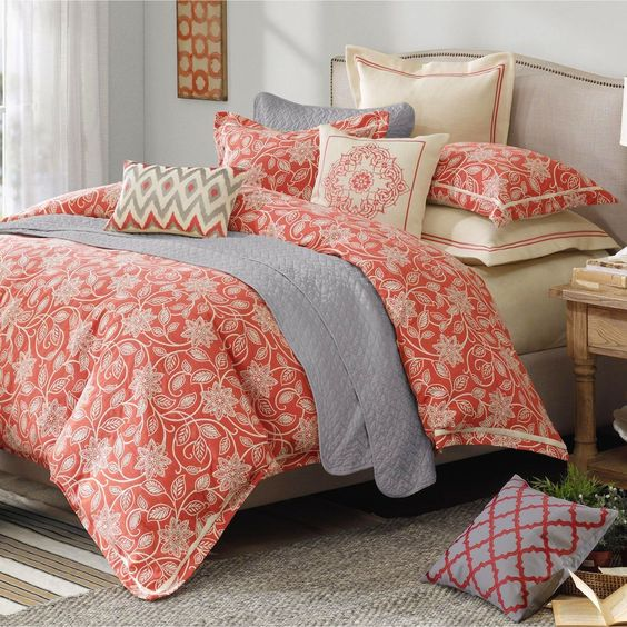 Portico 9 10 Pc Coral Floral Comforter Bed Set My Style