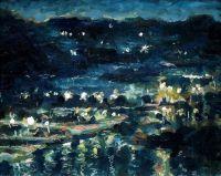 Impressionist landscape night painting, fine art original ...
