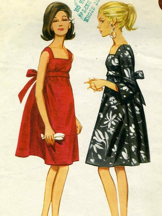 Vintage 60s Butterick 4235 CUT Misses Empire Waist Tent Dress Sewing Pattern Size 12 Bust 32 | Sewing patterns. Size 12 and Baby dolls