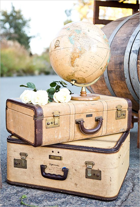 suitcases and globe decor | travel inspired wedding | colorful wedding ideas…: