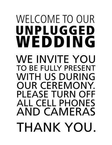 Unplugged wedding, Wedding and Phones on Pinterest