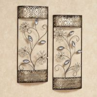 Wall Art Sets For Living Room - pearl shimmer floral metal ...