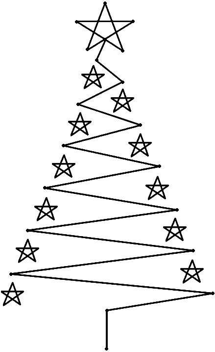 outline for our christmas tree made of lights on the wall
