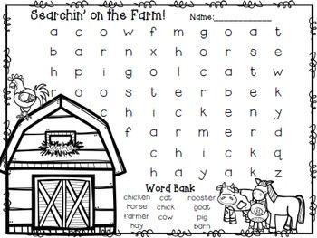 Easy Beginner Word SearchesFarm Words: barn, horse, pig