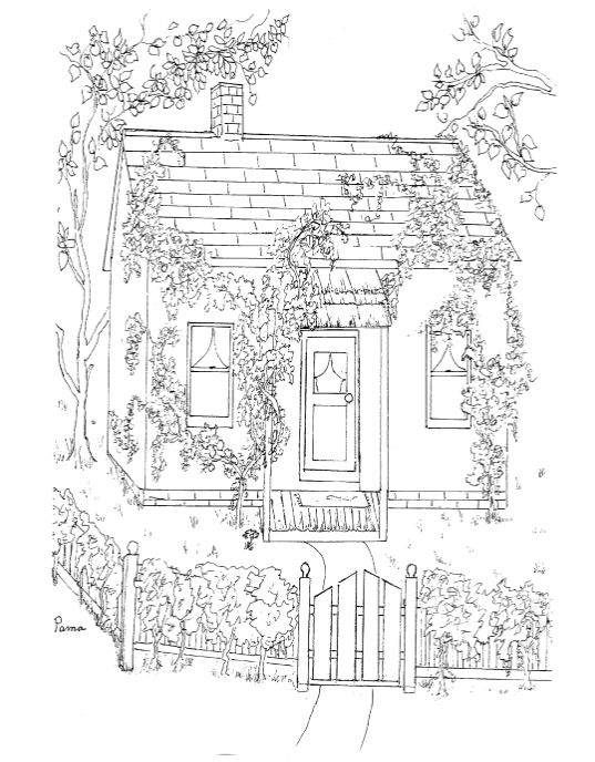 Country Cottage Coloring Pages Sketch Coloring Page