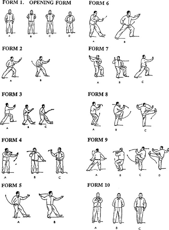 T'ai Chi Forms 1-10 (Illustrations & Directions