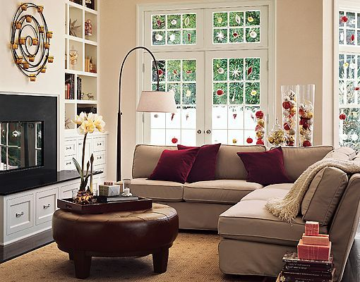 burgundy and brown living room danish style furniture beige sofa, cushions ~ decorating for the ...