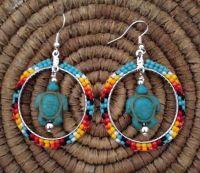Navajo Native American Beaded Green Turquoise Turtle Hoop ...