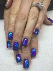 gel nails with transfer foils