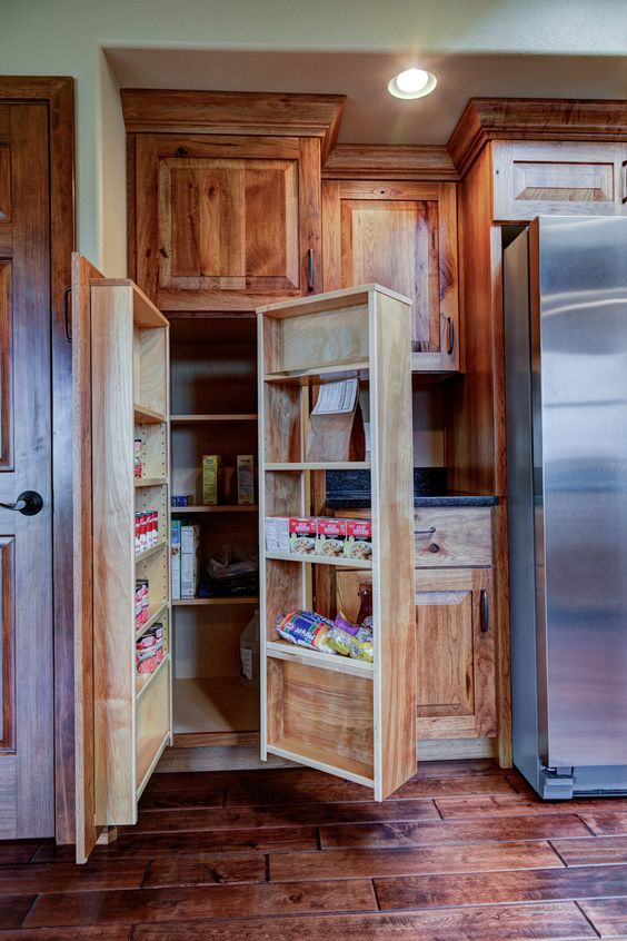 Rustic Hickory cabinets with swing out pantry  BTB