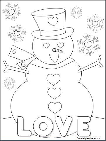 This is a FREE Valentine's Day snowman coloring page for