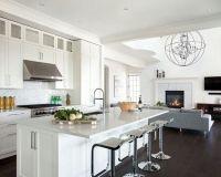 Open kitchen living room design w dark hardwood floors ...